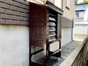 2021年7月設置 札幌市北区 H様邸 エアコン室外機カバー「ヴェルアート」設置例-2