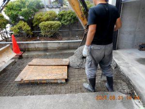 2021年9月施工 青森市 K様邸 埋設型融雪槽 快冬くんⅡ設置工事(灯油式)-5.生コン打設
