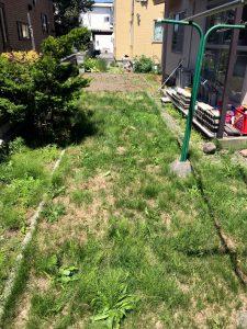2021年9月施工 札幌市北区 Y様邸 外構工事(人工芝の敷設)-施工前1